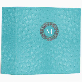 Elegant Turquoise Ostrich Leather Look Monogram Binder