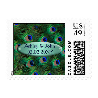 elegant turquoise peacock postage
