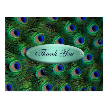 elegant turquoise peacock Thank you Postcard