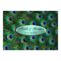 elegant turquoise peacock wedding card