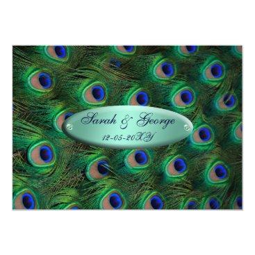 elegant turquoise peacock wedding card