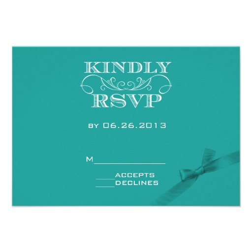 Elegant Turquoise  RSVP Card with Ribbon Announcements