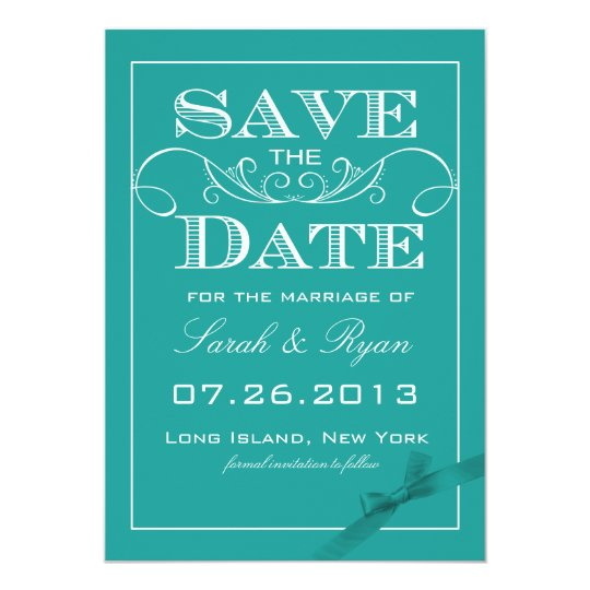 Elegant Turquoise Save the Date Announcement