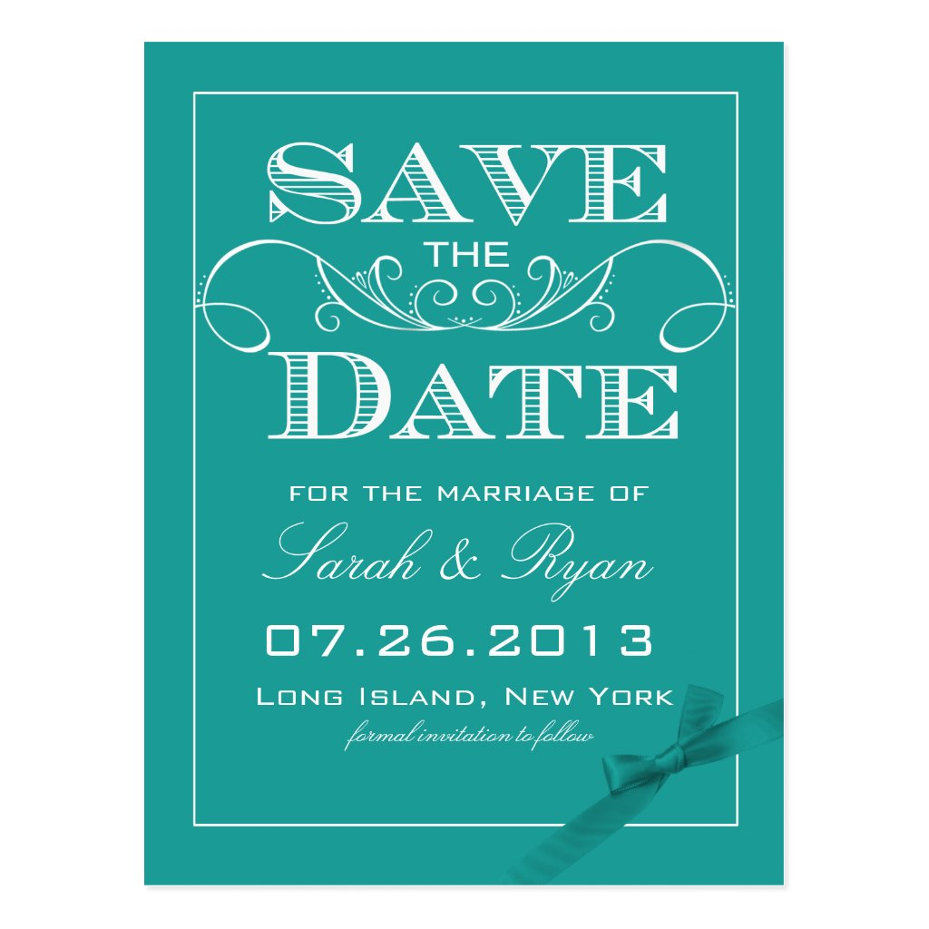 Elegant Turquoise Save the Date Announcement 8 postcards.