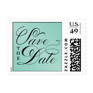 Elegant Turquoise Save the Date Postage Stamp