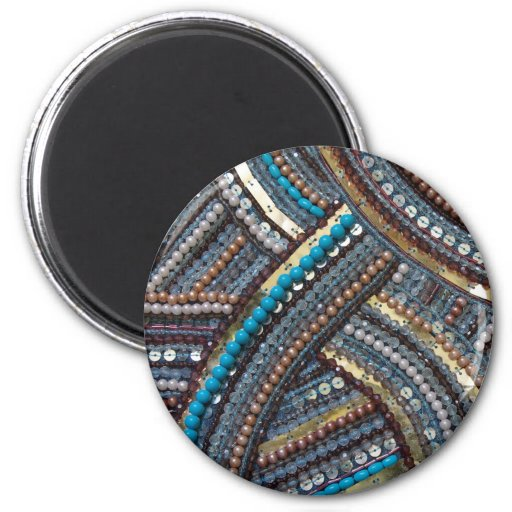 Elegant turquoise sequined fridge magnets