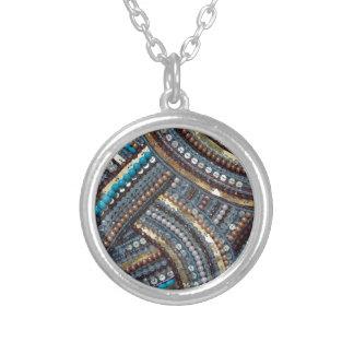 Elegant turquoise sequined round pendant necklace