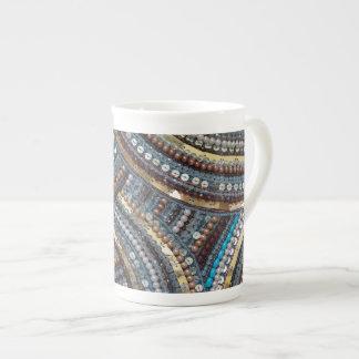 Elegant turquoise sequined tea cup