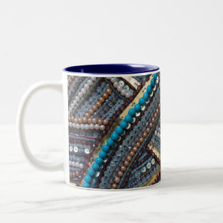 Elegant turquoise sequined Two-Tone coffee mug