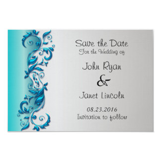 Elegant Turquoise Amp Silver Florid Wedding Design Card