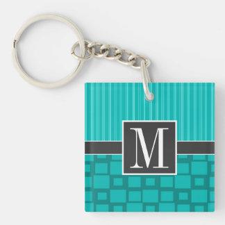 Elegant Turquoise Squares; Double-Sided Square Acrylic Keychain