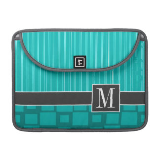 Elegant Turquoise Squares; Sleeve For MacBook Pro