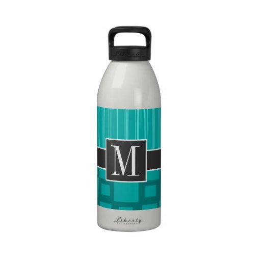 Elegant Turquoise Squares; Water Bottle