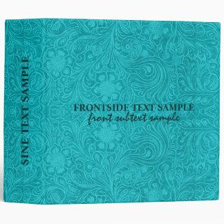 Elegant Turquoise Suede Leather Floral Design 3 Ring Binder