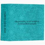 Elegant Turquoise Suede Leather Floral Design Vinyl Binders