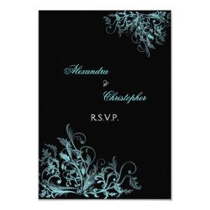 Elegant Turquoise Swirls Wedding RSVP 3.5x5 Paper Invitation Card