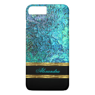 Elegant Turquoise Teal Blue Black and Gold iPhone 8 Plus/7 Plus Case