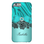 Elegant Turquoise Teal Blue Jewel Black Lace 2 Barely There iPhone 6 Case