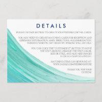 Elegant Turquoise Tides Beach Wedding Details Enclosure Card
