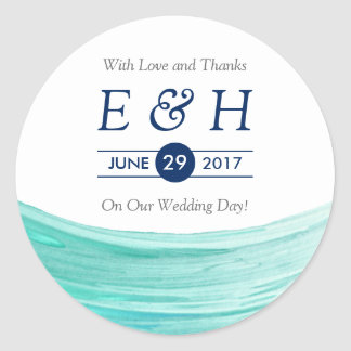 Elegant Turquoise Tides Beach Wedding Favor Classic Round Sticker