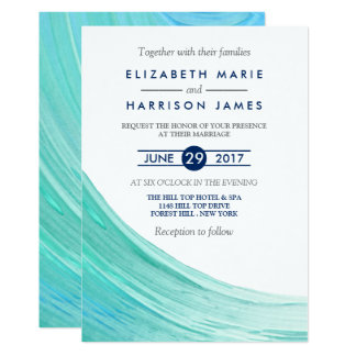 Elegant Turquoise Tides Beach Wedding Invitation