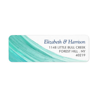 Elegant Turquoise Tides Beach Wedding Label