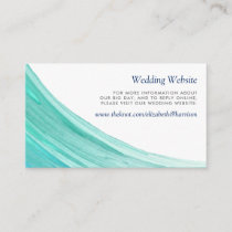 Elegant Turquoise Tides Beach Wedding Website Enclosure Card