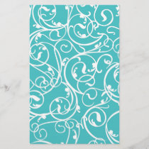 Elegant Turquoise Vintage Scroll Damask Pattern