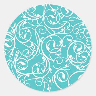 Elegant Turquoise Vintage Scroll Damask Pattern Classic Round Sticker