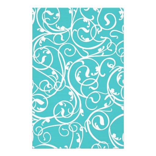 Elegant Turquoise Vintage Scroll Damask Pattern Stationery Paper