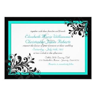 Elegant Turquoise Wedding Invitation