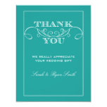Elegant Turquoise Wedding Thank You Cards