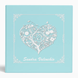 Elegant Turquoise & White Heart Wedding Organizer Binder