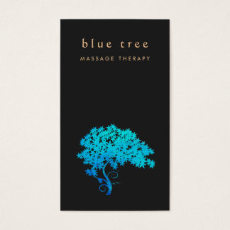 Elegant  Turquoise Zen Tree Logo Black 2 Business Card