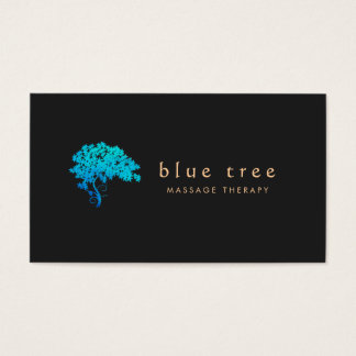 Elegant Turquoise Zen Tree Logo Black 3 Business Card