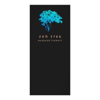 Elegant Turquoise Zen Tree Logo Black Rack Card