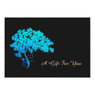 Elegant Turquoise Zen Tree Logo  Gift Certificate 3.5x5 Paper Invitation Card