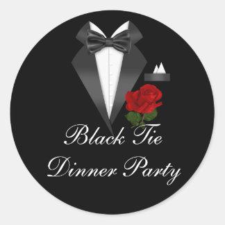 Elegant Tux & Rose Black Tie Dinner Party Sticker