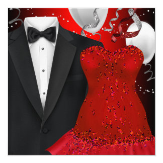 Elegant Tuxedo and Red Dress Holiday Party Invites