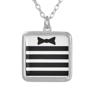 Elegant Tuxedo Black and With Pattern Gifts Silver Plated Necklace