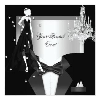 Elegant Tuxedo Gown Silver White Black Party Card