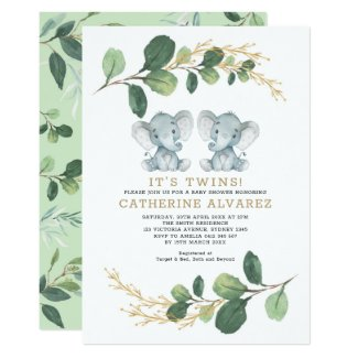Elegant Twin Elephant Soft Greenery Baby Shower Invitation