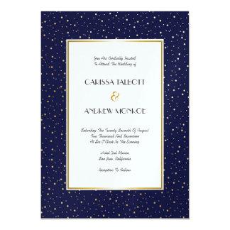 Elegant Twinkle Stars Midnight Blue Sky Gold Weddi Card