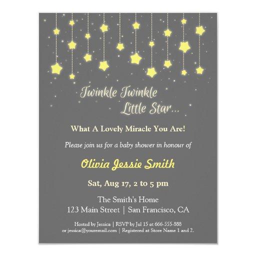 elegant twinkle twinkle little star baby shower card zazzle