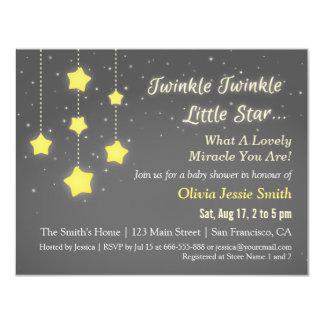 Elegant Twinkle Twinkle Little Star Baby Shower 4.25x5.5 Paper Invitation Card