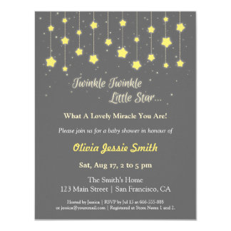 Elegant Twinkle Twinkle Little Star Baby Shower Invitation