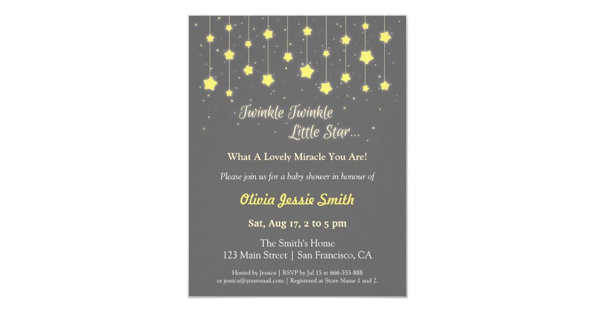 Elegant Twinkle Twinkle Little Star Baby Shower Invitation   Zazzle.com