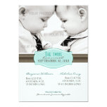 Elegant Twins Birth Announcement: Aqua Blue