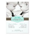 Elegant Twins Birth Announcement: Aqua Blue Card