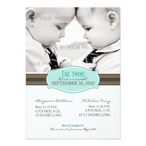 Elegant Twins Birth Announcement: Aqua Blue